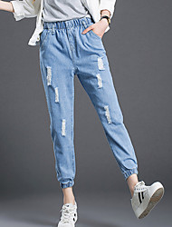 Women's Solid Blue Jeans Pants