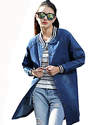 Women's Casual/Daily Simple / Street chic Color Block All Match Spring / Fall Denim Jackets,Letter Stand Long Sleeve