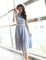 Boutique S Women's Going out Vintage Loose Dress,Check Round Neck Knee-length Sleeveless Blue Others Spring