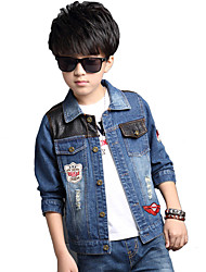 Boy's Cotton Spring/Autumn Fashion Leather Patchwork Cowboy Outerwear Long Sleeve Denim Jacket Coat