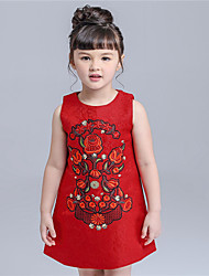 KIMOCAT  Girl's Casual/Daily Embroidered Dress,Cotton Spring / Fall Red