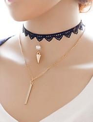 Femme Collier court /Ras-du-cou Collier multi rangs Forme Géométrique Perle Dentelle Alliage Mode Multicouches Noir Bijoux PourQuotidien