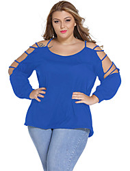 Women's Off The Shoulder|Cut Out Casual/Daily Sexy Spring / Fall Blouse,Solid Round Neck Long Sleeve Blue / Pink Polyester / Spandex Thin