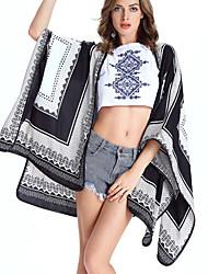 Damen Druck Einfach Lässig/Alltäglich Kimonojacke,Rundhalsausschnitt Herbst Langarm Polyester