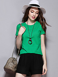 les femmes Sybel de sortir / t-shirt de chute, solide manches courtes col rond blanc / noir / vert / orange