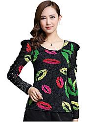 Spring/Fall Casual/Daily/Plus Size Women's Tops Round Neck Long Sleeve Fashion Printing Rhinestone Slim Blouse Shirt