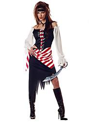 Costumes de Cosplay Pirate Cosplay de Film Noir Couleur Pleine Robe / Chapeau Halloween / Noël / Nouvel an Féminin Polyester