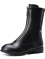 Women's Boots Spring / Fall / Winter Fashion Boots / Motorcycle Boots / Round Toe Dress / Casual Chunky Heel Zipper