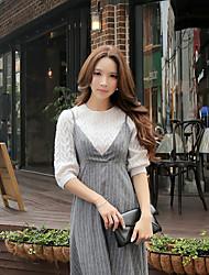 casual / sofisticado pullover simples / regulares da dabuwawa mulheres, em torno do pescoço sólido ½ comprimento da manga