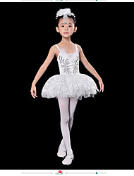 Ballet Dresses Children's Performance Spandex Lace 1 Piece White Ballet Sleeveless High Dress