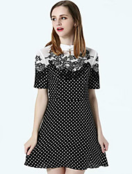 Boutique S Women's Casual/Daily Cute A Line Dress,Embroidered Shirt Collar Above Knee Short Sleeve Black Silk Fall