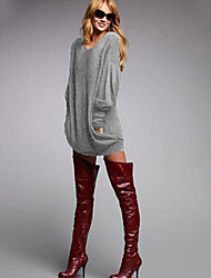 Women's New Arrival Solid Loose Fashion Leisure T-shirt , V Neck Long Sleeve