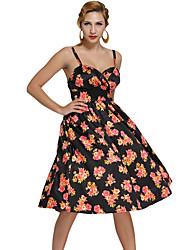 Women's Pin-up Digital Floral Swing Vintage Dress
