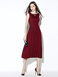 femmes i-yecho sortant robe de swing simple, solide col carré manches midi bleu rouge polyester / / noir l'été