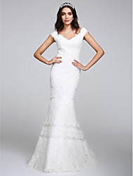 LAN TING BRIDE Trumpet / Mermaid Wedding Dress See-Through Floor-length V-neck Lace with Lace