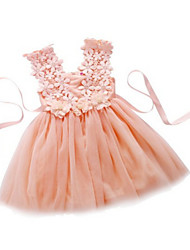 A-Line Knee Length Flower Girl Dress - Tulle Sleeveless Straps with Flower(s) Lace Sash / Ribbon by