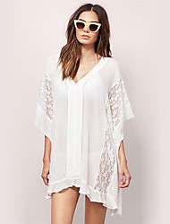 Women's Beach Boho Tunic Dress,Solid V Neck Above Knee ¾ Sleeve White / Black Polyester Summer