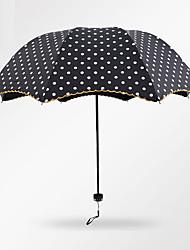 Preta / Rosa Guarda-Chuva Dobrável Ensolarado e chuvoso têxtil Viagem / Lady