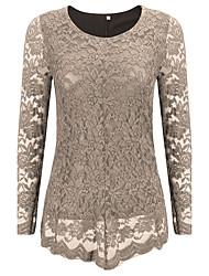 Mulheres Camiseta Casual / Tamanhos Grandes Sensual Primavera / Outono,Sólido / Bordado Azul / Preto / Marrom Tipos Especiais de Couro