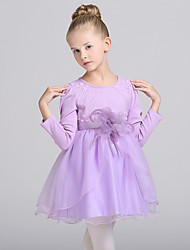 A-line Knee-length Flower Girl Dress - Cotton / Organza Long Sleeve Jewel with Flower(s) / Sash / Ribbon