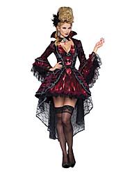Costumes de Cosplay Costume de Soirée Reine Esprit Zombie Vampire Fête / Célébration Déguisement d'Halloween Rouge noir Rétro Robe