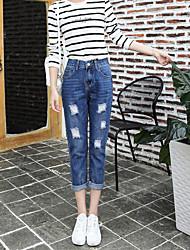 Mulheres Calças Simples Jeans Poliéster Sem Elasticidade Mulheres