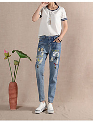 Women's Print Blue Jeans Pants,Simple