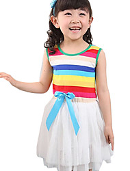 Girl's Casual/Daily Rainbow Dress,Cotton Summer Blue / White / Yellow