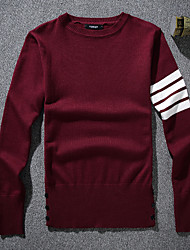 Men's Striped Casual Pullover,Wool Long Sleeve Black / Red / White