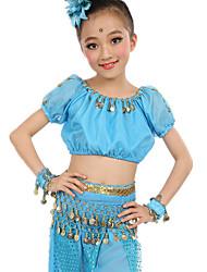 Dança do Ventre Roupa Mulheres Crianças Actuação Cetim Chifom Poliéster Moedas de Ouro 6 Peças Manga Curta NaturalBlusa Calças Cinto