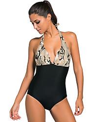 Women's Print Black Body One-piece Swimwear