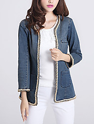 Women's Solid Blue Denim Jackets,Elegant Sweet  Cute Round Neck Long Sleeve Demin