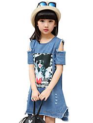 Girl's Cotton Summer Fashion Cartoon Print Skirt Strapless Denim Dress
