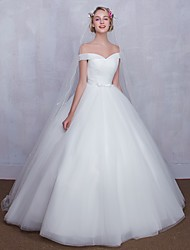 Ball Gown Wedding Dress Simply Sublime Floor-length Off-the-shoulder Tulle with Bow Criss-Cross