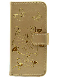 Gilded Flowers Pattern PU Material Purse Money Phone Cover for iPhone 5 5S SE 6 6S 6 Plus 6S Plus