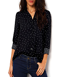 Women's Casual/Daily Simple Spring / Fall Shirt,Polka Dot Stand Long Sleeve Black Polyester Thin