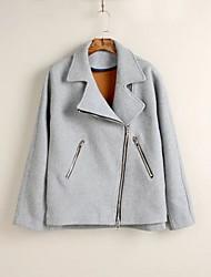 Damen Solide Street Schick Lässig/Alltäglich Mantel,Herbst / Winter V-Ausschnitt Langarm Grau Dünn Polyester