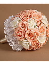 "Wedding Flowers Round Roses Bouquets Wedding Polyester / Rhinestone 19.7""(Approx.50cm)"