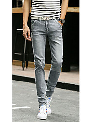 Men's Solid Casual JeansCotton Blue / Gray
