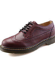 Women's Oxfords Fall Round Toe Leather Casual Low Heel Others Black / Red / White Walking