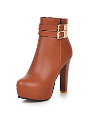 Women's Boots Fall / Winter Heels / Round Toe PU Office & Career / Casual Stiletto Heel Buckle Black / White Others