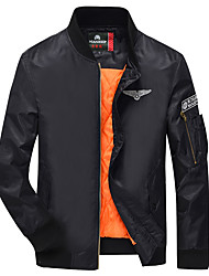 Men's Long Sleeve Casual / Work / Formal Jacket,Polyester Solid Black / Blue / Green