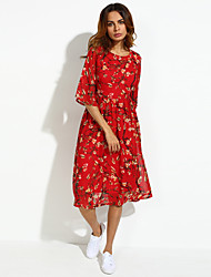 Women's Flare Sleeve Casual/Daily Boho/Street chic Plus Size/Chiffon Dress,Floral Round Neck Midi ½ Length Sleeve Red Silk Summer
