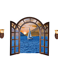 European Landscape Fake Window Wall Decals Cartoon Decals Landscape Stickers Nursery Children's Room for Home Decor