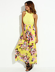 Women's Cut Out/Embroidery Party Sexy Dress,Print Crew Neck Maxi Sleeveless Red/Yellow Polyester Summer