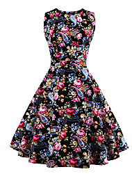 Women's Party / Plus Size Vintage Swing Dress,Floral Round Neck Knee-length Sleeveless Black Cotton Summer