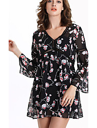 Women's Casual/Daily Vintage Loose Dress,Floral V Neck Mini Long Sleeve Black Polyester Summer