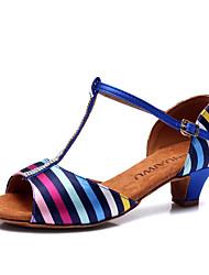 Latin Kid's Dance Shoes Sandals Satin Rhinestone Cuban Heel Blue