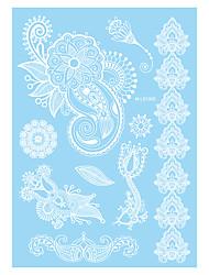 1pc White Lotus Flower Leaf Temporary Tattoo for Women Body Art Tattoo Henna Jewelry Sticker WM-LS1005