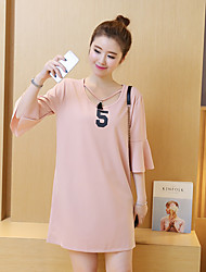 Maternity Casual/Daily Simple Loose Dress,Solid V Neck Above Knee ¾ Sleeve Pink / Black Polyester Summer